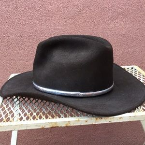 Accessories - Large, dark brown hat will faux metal detail
